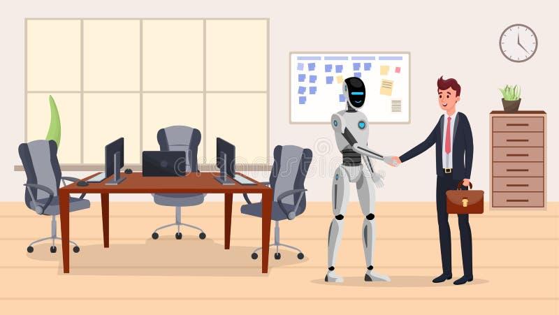 Flache Vektorillustration des Cyborg und des Geschäftsmannes Humanoid Roboter und glücklicher Manager in den Klagenerschütterungs lizenzfreie abbildung