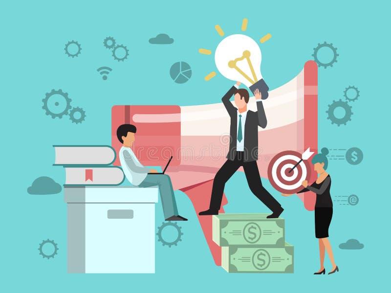 Flache Vektorillustration des Digital-Marketing-Konzeptes Büroleutekunde nformation Strategiemanagement Ein B?ndel Leute, habend  stock abbildung