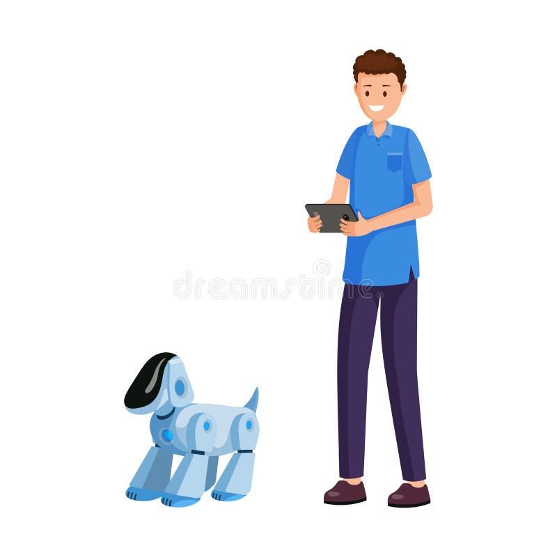 Flache Vektorillustration des intelligenten elektronischen Haustieres stock abbildung