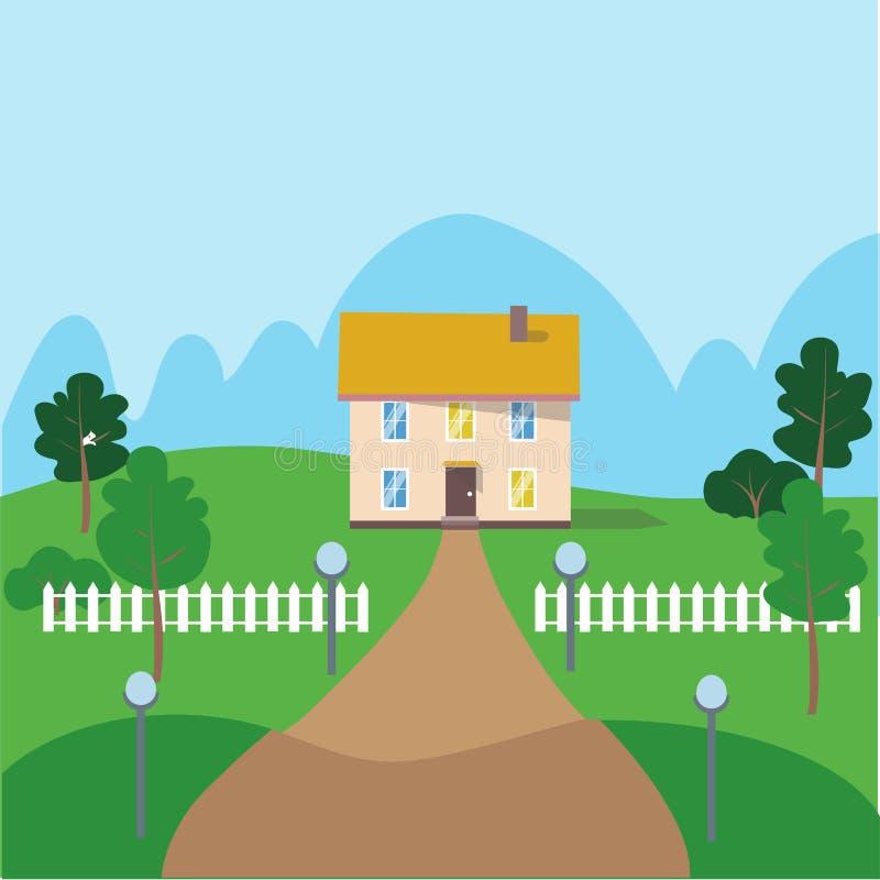 Flache Vektorillustration des Landschaftshauses Weißer Zaun, grüner Garten Immobilien, Eigentum für Miete, Verkauf vektor abbildung