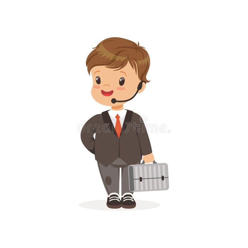 Flache Vektorillustration des lustigen kleinen Jungen im Anzug mit den Händen geben Kopfhörer und Koffer in der Hand frei karrier lizenzfreie abbildung