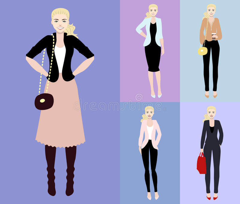 Flache Vektorillustration einer schönen jungen Frau mit dem blondy Haar Junge Frau kleidete in der zufälliger und Geschäftsart an stock abbildung