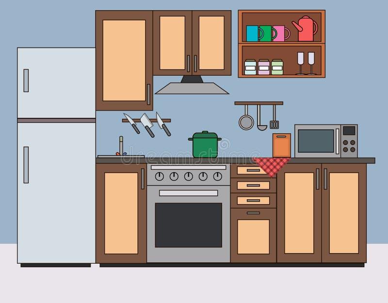 Flache Vektorinnenillustration des Küchenraumes stock abbildung