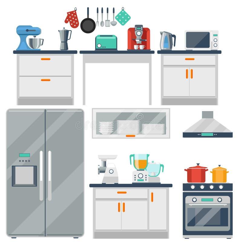 Flache Vektorküche mit dem Kochen von Werkzeugen, Ausrüstung stock abbildung