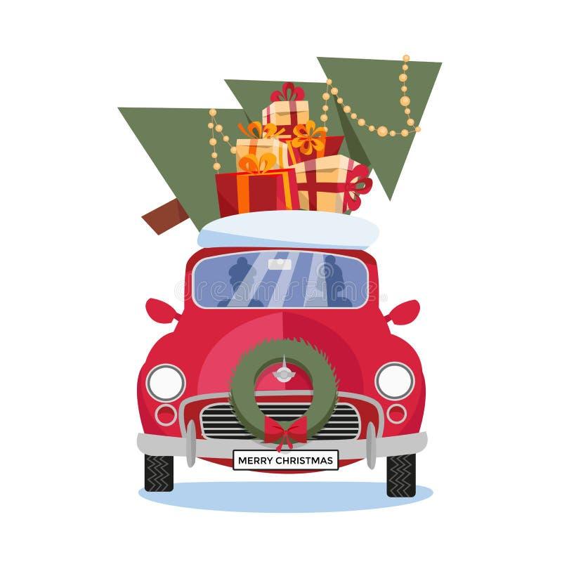 Flache Vektorkarikaturillustration des Retro- Autos mit Geschenkboxen, Schnee und Weihnachtsbaum auf dem Dach auf weißem Hintergr lizenzfreie abbildung