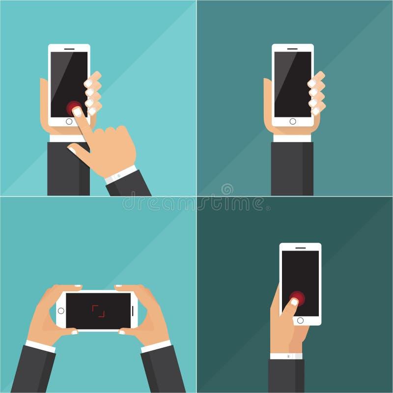 Flache Vektorsammlung Tabletten mit den haltenen Händen und Touch Screen stockfotos