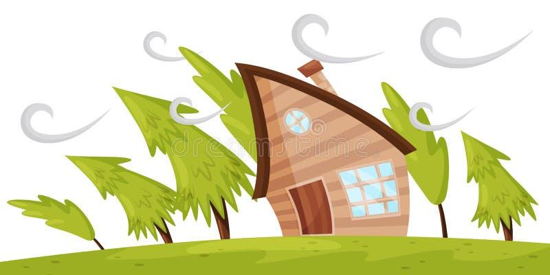 Flache Vektorszene mit dem Haus und Tannenbäumen, die weg durch starken Wind durchbrennen Starker Windsturm trockenes Klima bei T lizenzfreie abbildung