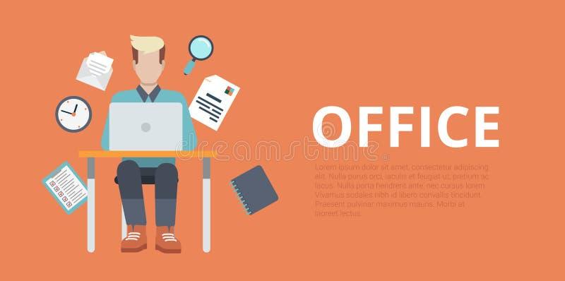 Flache Vektorwebsiteschieberfahnenbüro-Arbeitsplatzfunktion stock abbildung