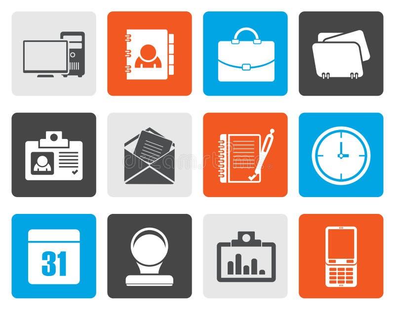Flache Web-Anwendungs-, Geschäfts- und Büroikonen, Universalikonen stock abbildung