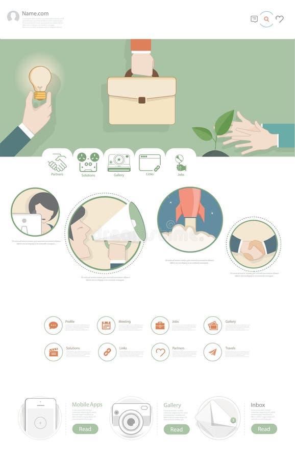 Flache Websitedesignschablone mit Geschäftsillustrationen stock abbildung