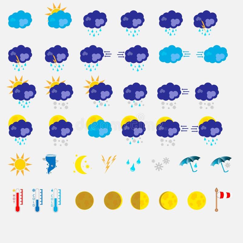 Flache Wetterikone stellte auf einen weißen Hintergrund ein lizenzfreie abbildung