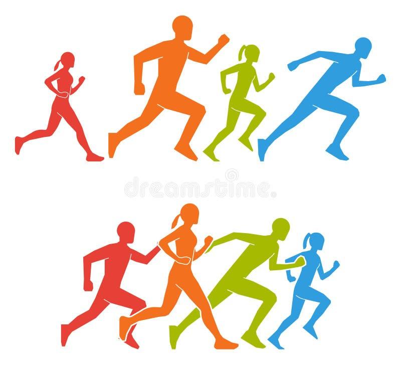 Flache Zahlen Marathoner Farbige Schattenbilder des Läufers stock abbildung