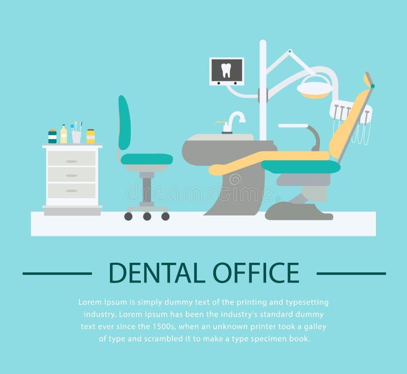 Flache Zahnarztbüroillustration lizenzfreie abbildung