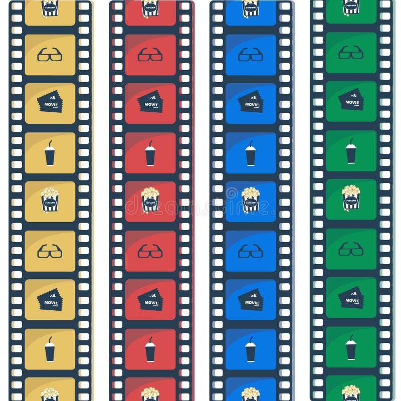 Flache Zauntrittikonen des Kinos Filmen Sie Streifen lizenzfreie abbildung