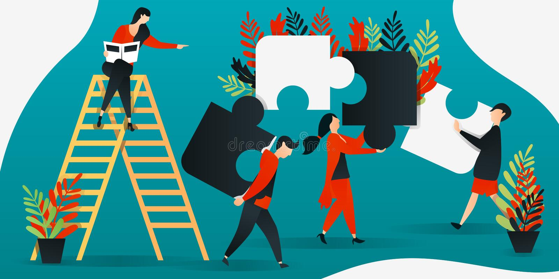 flache Zeichentrickfilm-Figur Vektorillustration für Bau, Führung, Teamwork, Geschäft Leute, die Puzzlespiel, peop zusammenfügen vektor abbildung