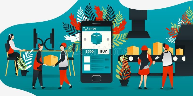 flache Zeichentrickfilm-Figur Vektorillustration für Technologie, industrielle Revolution 4 0, Industrie, E-Commerce mobiler App  stock abbildung