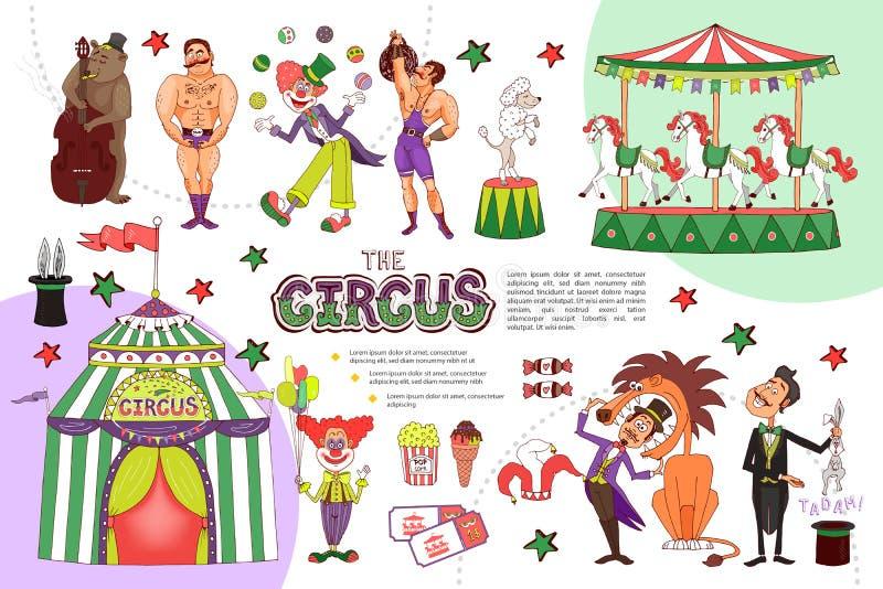 Flache Zirkus-Zusammensetzung vektor abbildung