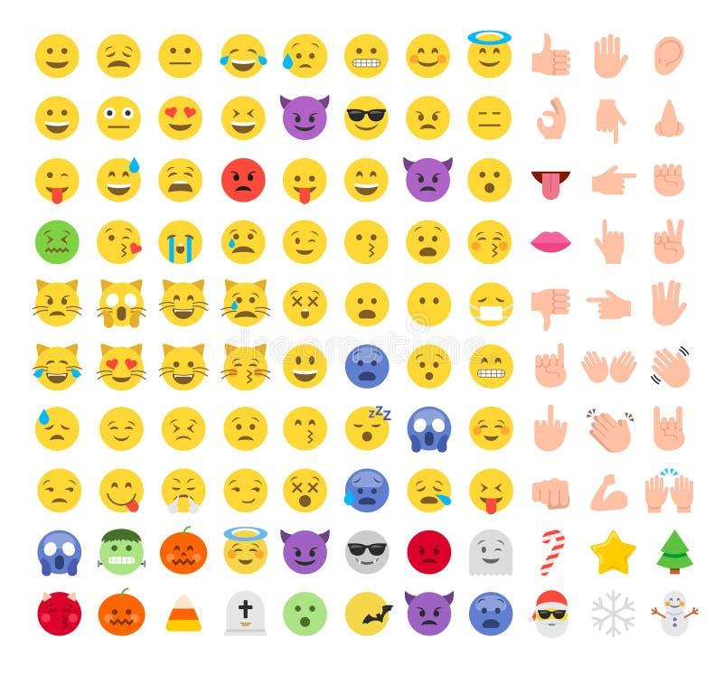 Flacher Art emoji Emoticon-Ikonensatz lizenzfreie abbildung