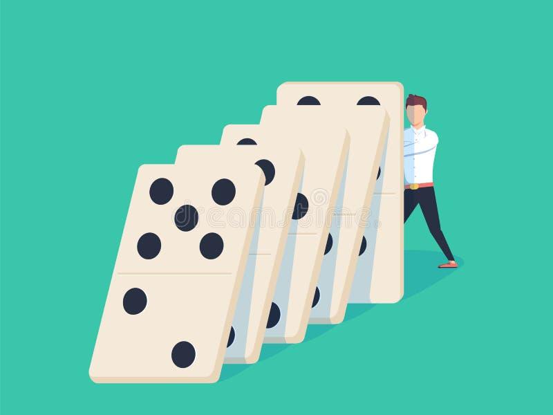 Flacher Artgeschäftsmann, der versucht, fallenden Domino zu stoppen Geschäftskrisenmanagement und Lösungskonzept stock abbildung