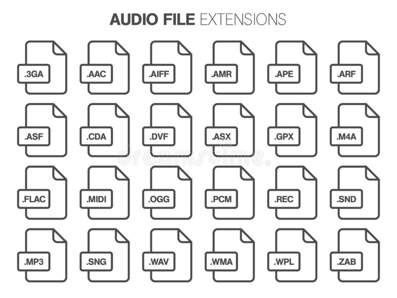 Flacher Artikonensatz Audio, Lied, Sprachregisteraktenart, extencion Dokumentaufbau stock abbildung
