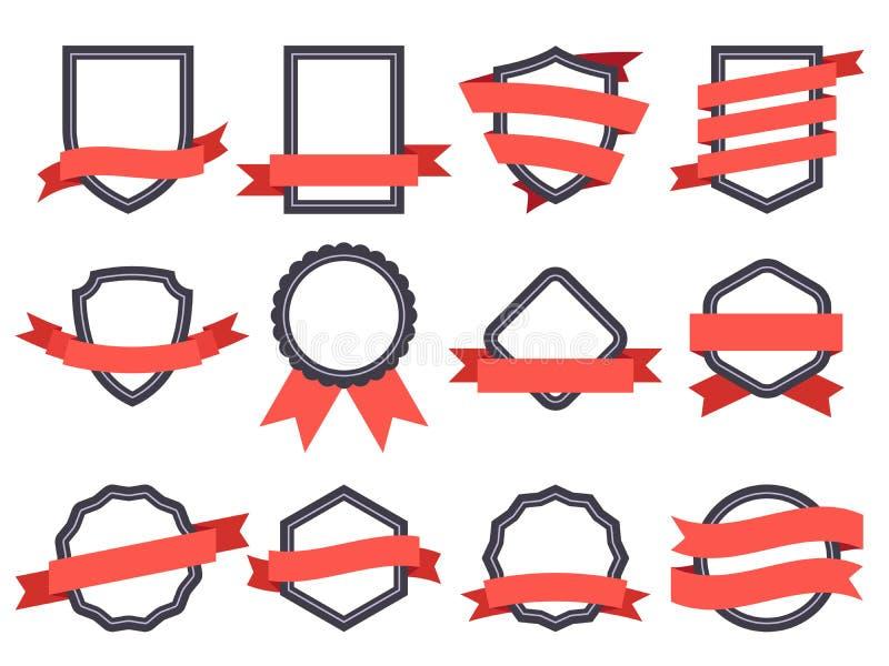Flacher Bandfahnenausweis Echte Fahnen, Rahmen mit Bändern und Insignienausweise für Logodesign-Vektorsatz stock abbildung