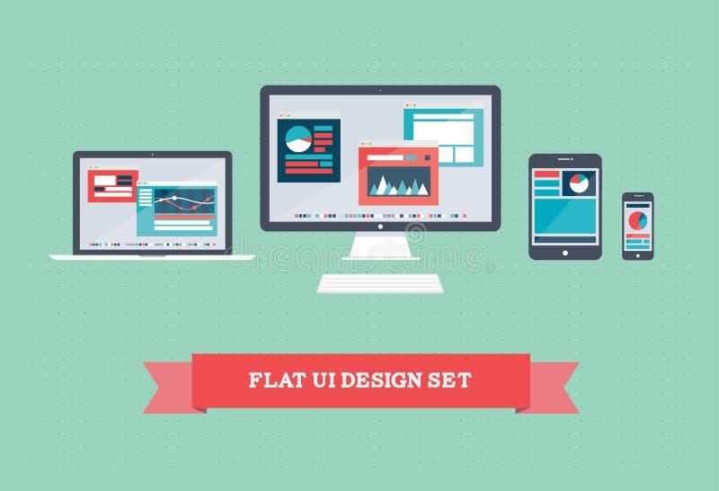 Flacher Benutzerschnittstellen-Entwurfssatz lizenzfreie abbildung