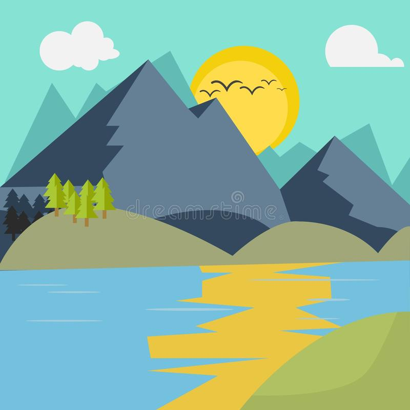 Flacher Berg und See stockbilder