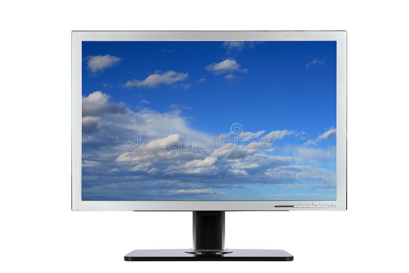 Flacher breiter Bildschirm des Computers stockfotos