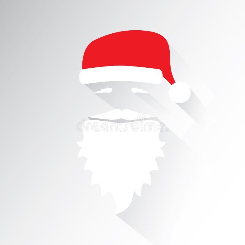 Flacher Design-Vektor Santa Claus Face auf weißem Hintergrund Flache Designillustration Ikone glückliches neues Jahr 2007 lizenzfreie abbildung