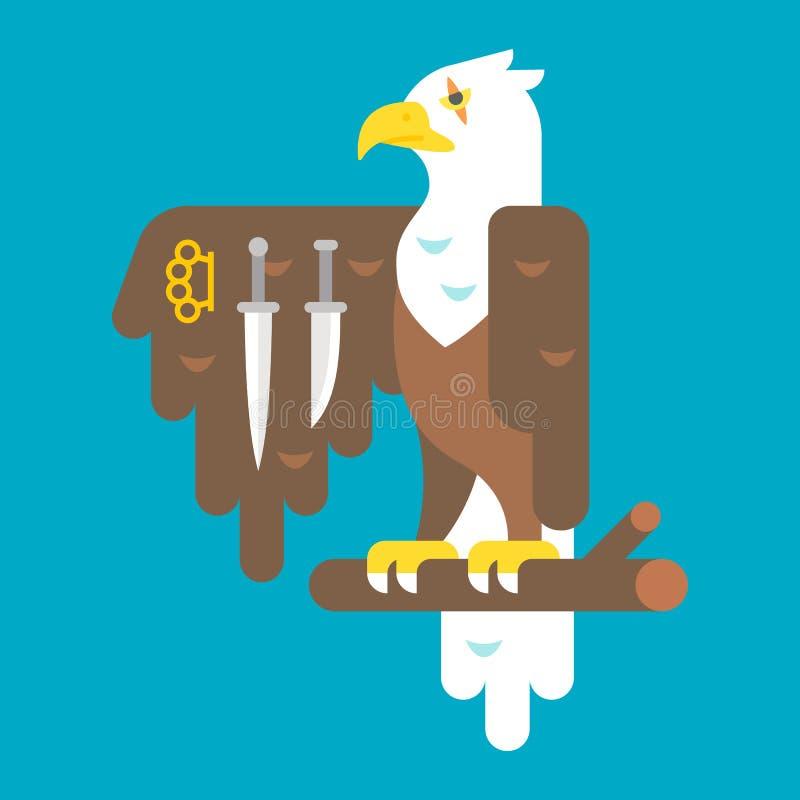 Flacher Designadler mit Waffen lizenzfreie abbildung