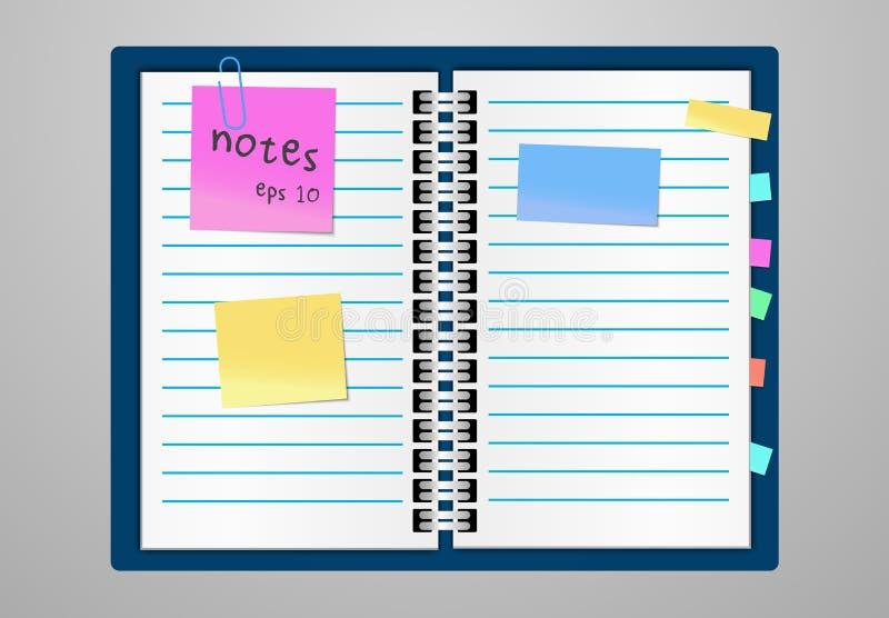 Flacher Designnotizblock- und -papierblätter Whitplatz für Text klebriges buntes Band auf grauem Hintergrund lizenzfreie abbildung