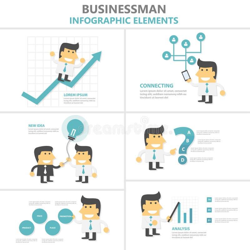 Flacher Designsatz Geschäftsmann-Infographic-Elemente, Mann mit Glühlampe, Smartphone, Wachstum, Karikatur der Strategie 4p stock abbildung