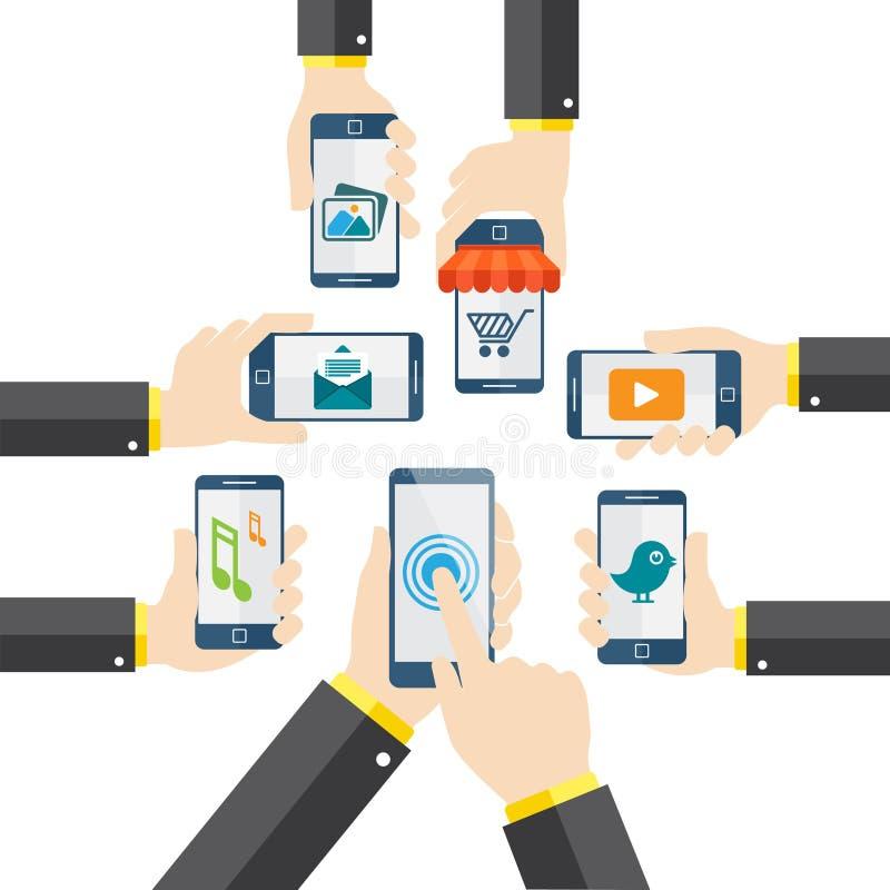 Flacher Designvektor bewegliches apps Konzept mit Netzikonen stock abbildung