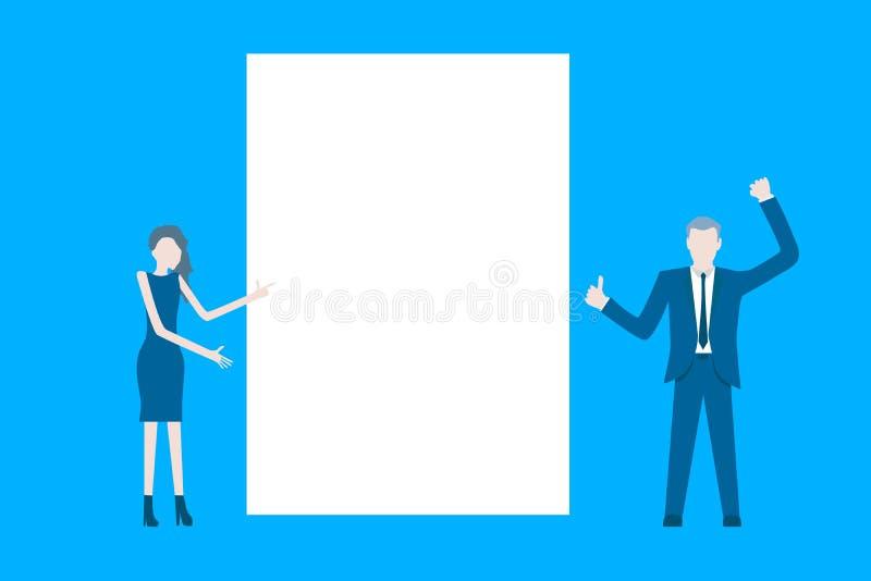 Flacher Designvektor des Geschäfts mit, der den Geschäftsmännern sich darstellen vor einem Plakat ist vektor abbildung