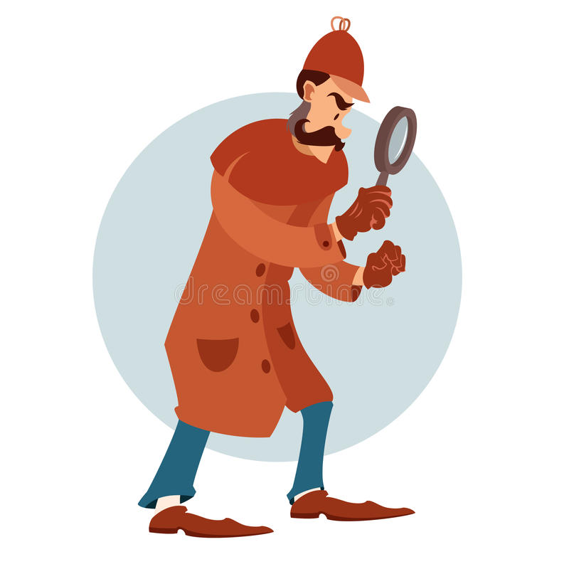 Flacher Detektiv der Karikatur lizenzfreie abbildung