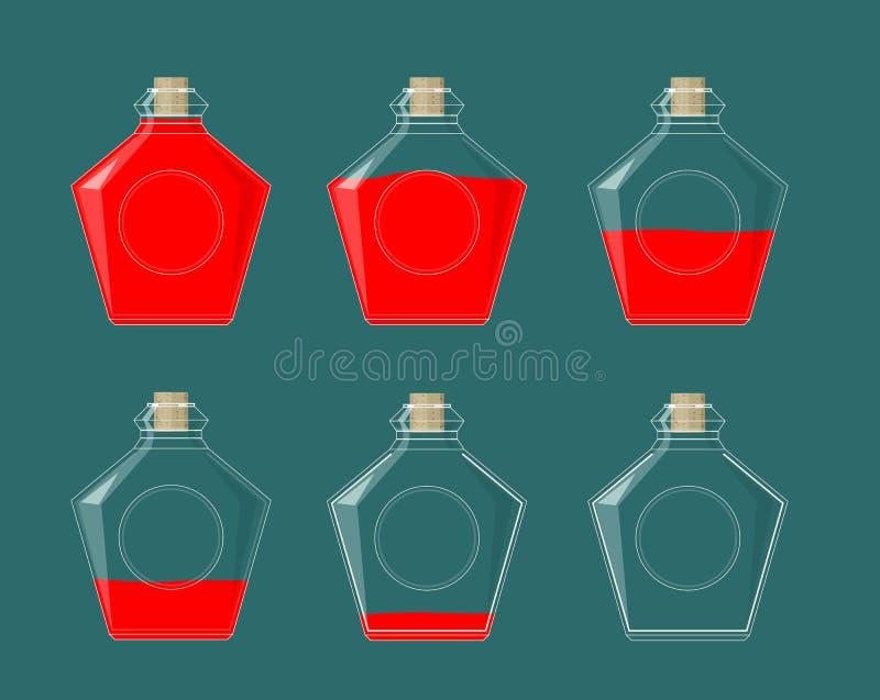Flacher DOF, Fokus auf zentralen Flaschen Flüssigkeit der verschiedenen Fülle lizenzfreie abbildung