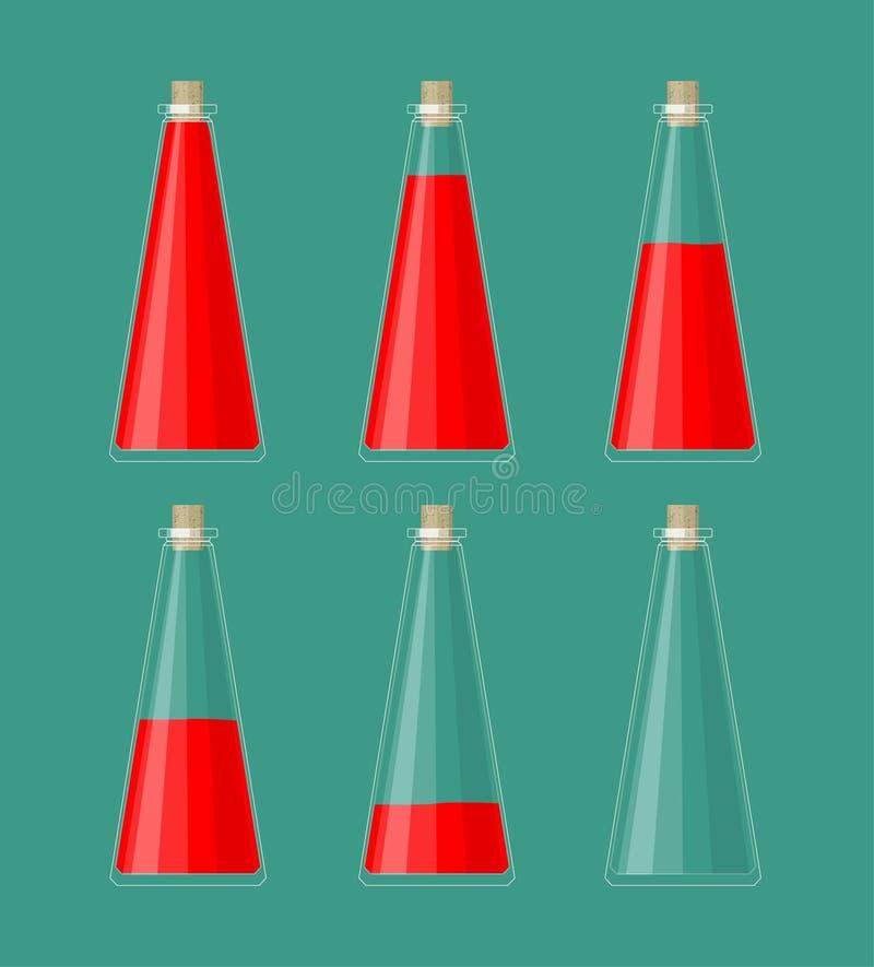 Flacher DOF, Fokus auf zentralen Flaschen Flüssigkeit der verschiedenen Fülle Gesundheits-Wiederaufnahme-Trank Teile UI für 2d un vektor abbildung