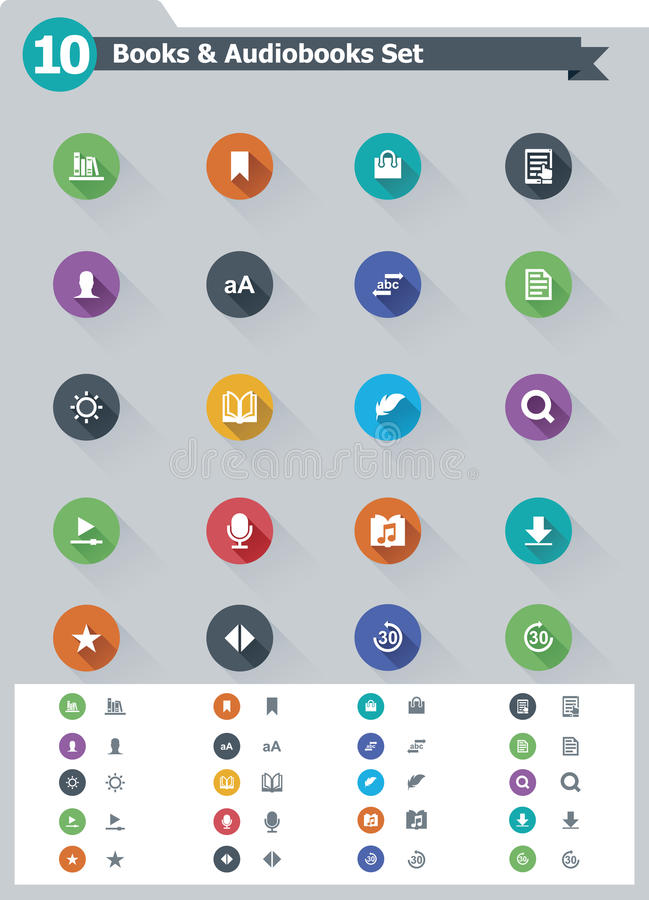 Flacher eBook Ikonensatz vektor abbildung