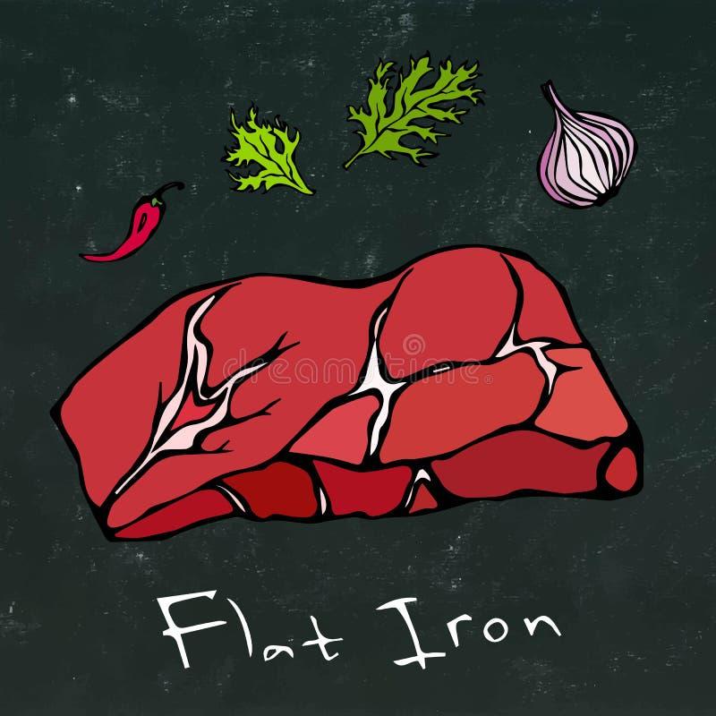 Flacher Eisen-Steak-Schnitt-Vektor lokalisiert auf Tafel-Hintergrund lizenzfreie abbildung