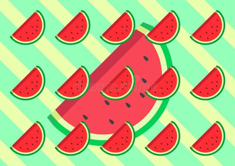 Flacher Entwurf der Wassermelone mit Retro- grüner und gelber Entwurfsvektor Illustration Farbe des Hintergrundes stock abbildung