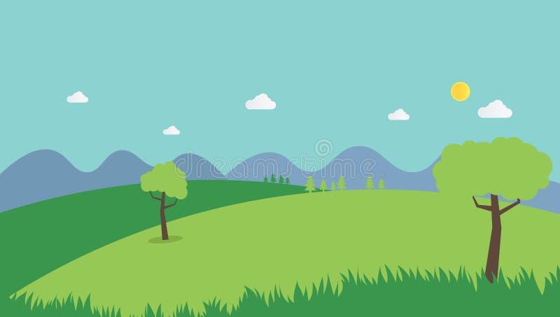 Flacher Entwurf des Naturlandschaftssommer-Hintergrundes stock abbildung