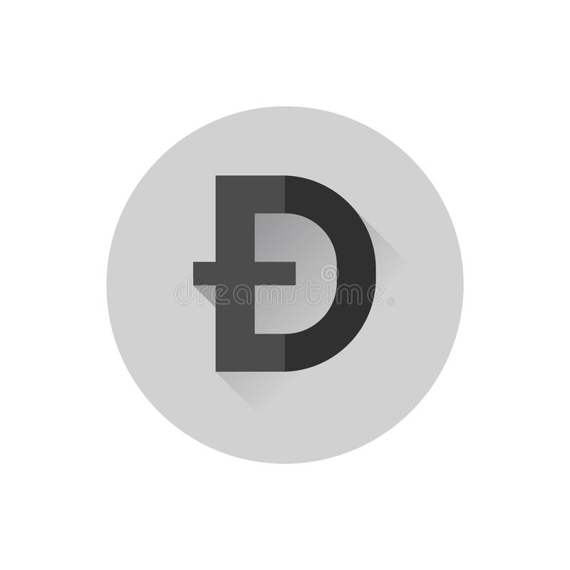 Flacher Entwurf Dogecoin lizenzfreie abbildung