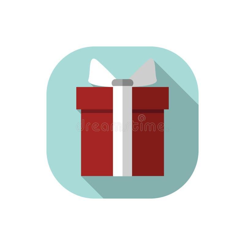 Flacher Entwurf roter Präsentkarton mit weißem Bogen lizenzfreie abbildung