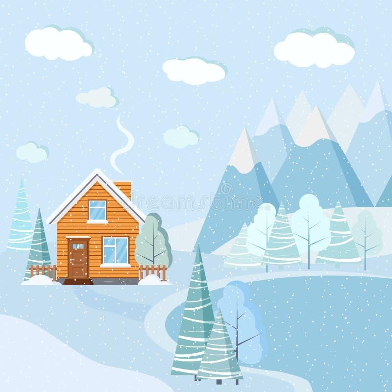 Flacher Entwurf schöne schneebedeckte Weihnachtswintersee-Landschaftsszene mit Bergen, Wolken, Bäume, Fichten, ländliches Haus lizenzfreie abbildung