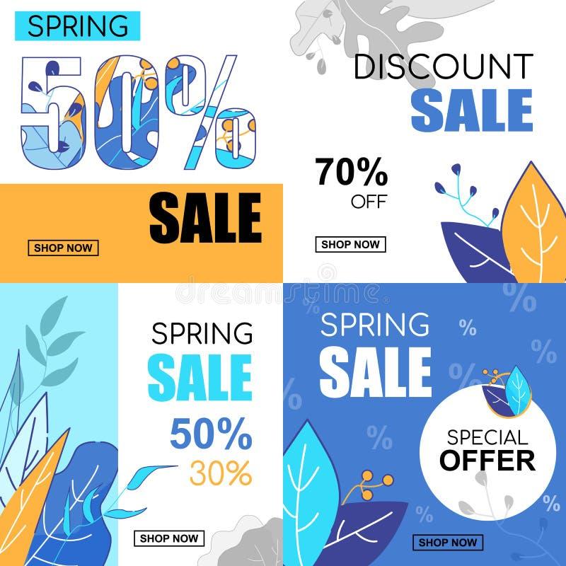 Flacher Fahnen-Satz-Frühlings-Verkauf 30, 50, 70, Prozente vektor abbildung