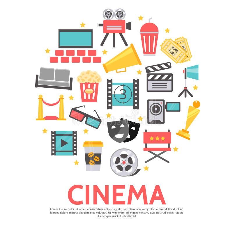 Flacher Film-rundes Konzept vektor abbildung