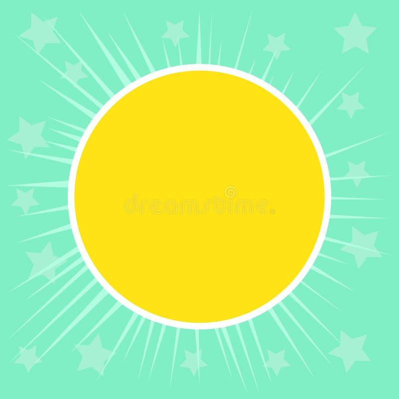 Flacher Foto Entwurf von Sun und von Strahlen gegen Stern-Hintergrund Gelber Kreis mit weißer Grenze und dünnen glühenden Strahle lizenzfreie abbildung