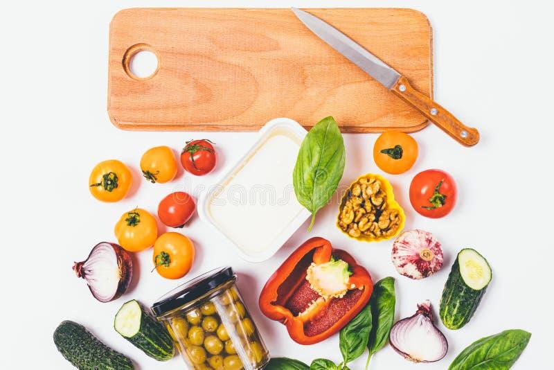 Flacher gelegter Nahrungsmittelhintergrund des Frischgemüses stockfotografie