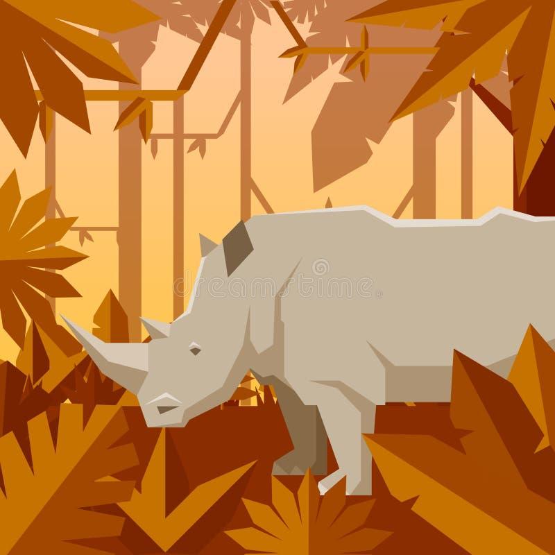 Flacher geometrischer Dschungelhintergrund mit Nashorn lizenzfreie abbildung