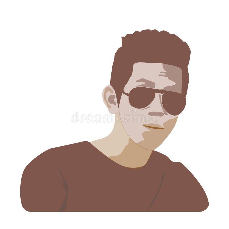 Flacher glücklicher Kopf des Mannes mit Glasikone auf einem weißen Hintergrund mit Linien lizenzfreie abbildung